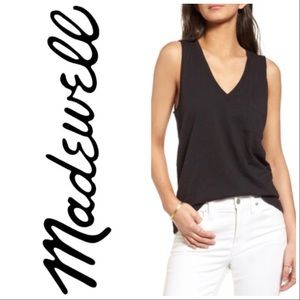 MADEWELL Whisper Cotton V Neck Pocket Tank Black